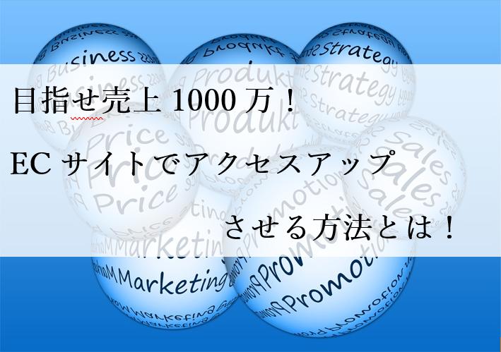 目指せ売上1000万!ECサイトでアクセスアップさせる方法とは!